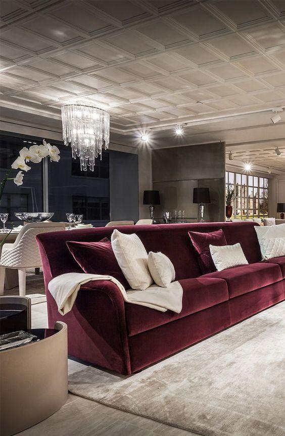 canapé bordeaux-tissu-velour-tendance-decoration-meuble-living