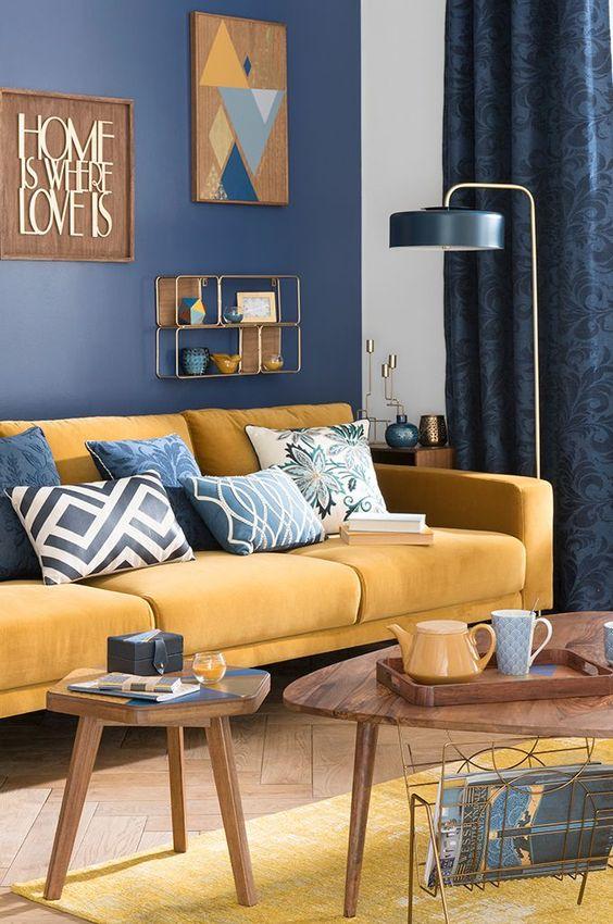 canapé jaune curry tendance décoration meuble
