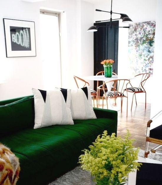 canapé vert sapin tendance décoration meuble