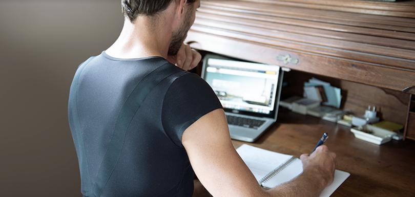 design produit t-shirt dos posture percko