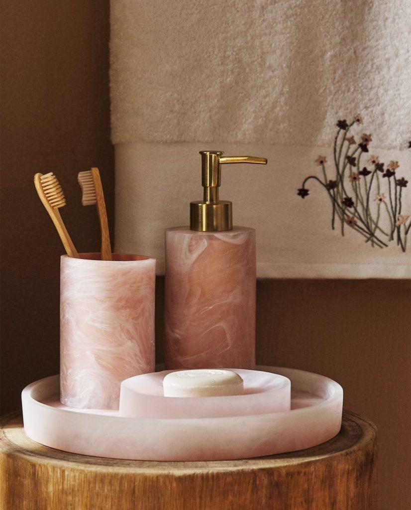 accessoire salle de bain effet marbre